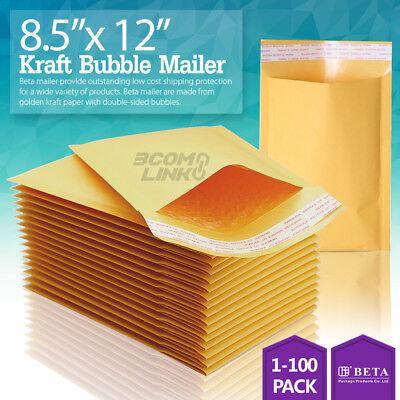 2 8.5x12 Kraft Bubble Mailers Padded Envelopes Dvd 8.5 X 12