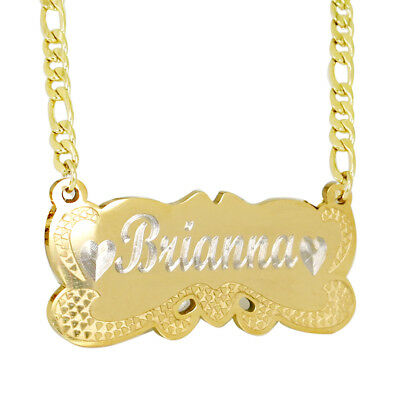Personalized 18K Gold Plated Two Name Engraved Name Plate Necklace US (Engraved Gold Necklace)