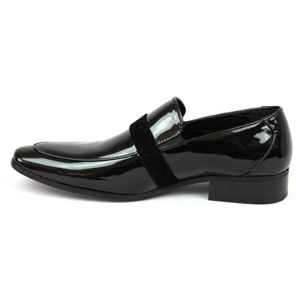 Faranzi Men's Slip On Black Patent Tuxedo Shoes F41094 1