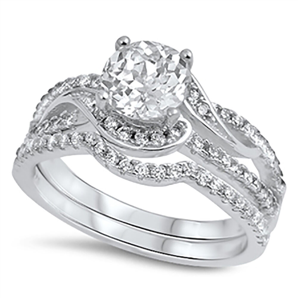 Sterling Silver 925 CZ Womens Bridal Round Engagement Wedding Band Ring Set 5-10