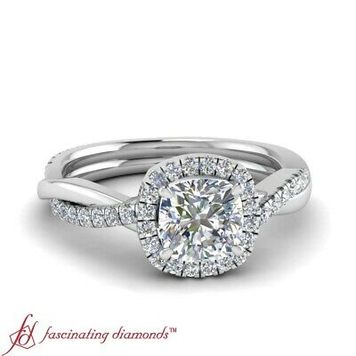 1 Carat Cushion Cut Diamond Twisted Vine Halo Engagement Ring With Round Accents