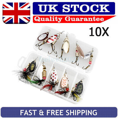 10PCS Fishing Spinners Sea Perch Pike Trout Fishing Lures Tackle Box Hooks
