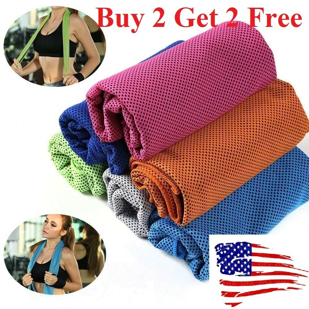 Buy 2 get 2 free ice Cooling Towel for Sports/Workout/Fitness/Gym/Yoga towels