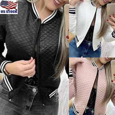 Women's Baseball Coat Leather Jacket Long Sleeve Casual Zipper Bomber Outwear US