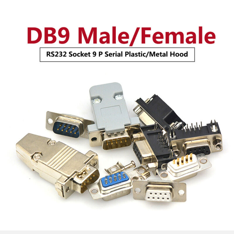 DB9 Socket Male/Female D-Sub 9 Pin Solder Connector RS232 Serial Grey/Metal Hood