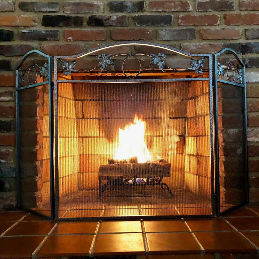 Amagabeli 3 Panel Pewter Wrought Iron Fireplace Screen Foldi