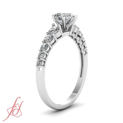 1 Ct Affordable Diamond Ring With Pear Shaped GIA Certified Center In White Gold 2