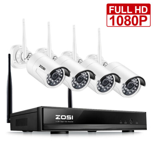 ZOSI 4CH 1080p NVR 2MP Outdoor HD Wireless IP Home Security