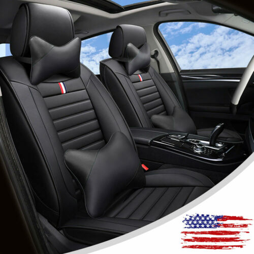 Car Parts - Black Leather Car Seat Covers Full Surround Cushion Universal Interior Parts Set