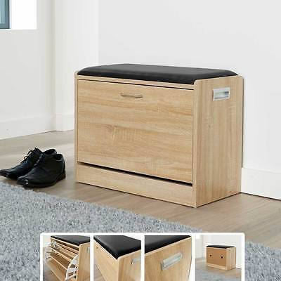 Ottoman Shoe Cabinet Seat Storage Closet Wooden Rack Cupboard Shoes Bench Drawer