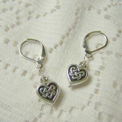 Celtic Knot Heart Earrings, Scottish Irish Gaelic Eternity Silver Heart Earrings
