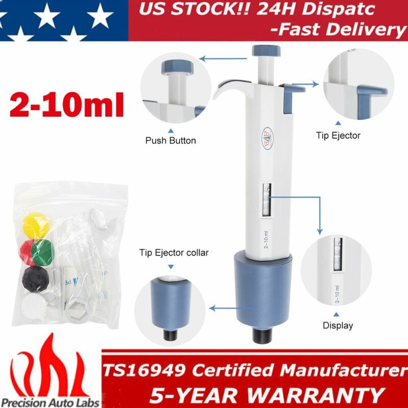 Digital Micro Transfer 2-10ml Volume Pipettor Single Channel Adjustable Pipette