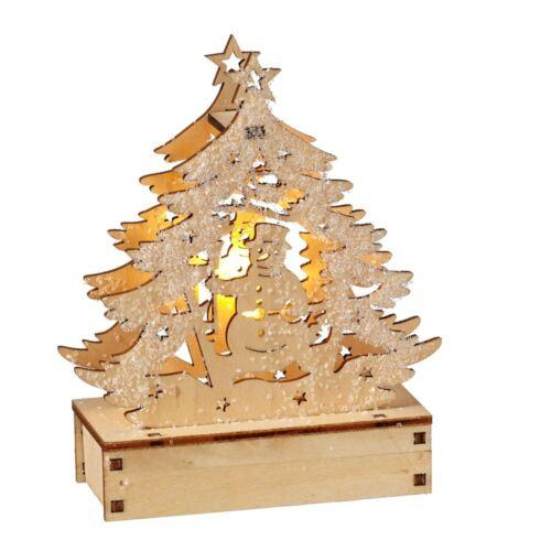 Lighted LED Wood Laser Cut Snowman in Tree Figurine Ornament New Snowy Glitter