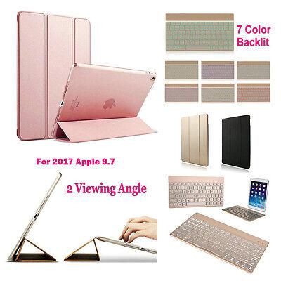 Boriyuan Folio Case 7 colors Backlight Wireless Keyboard For