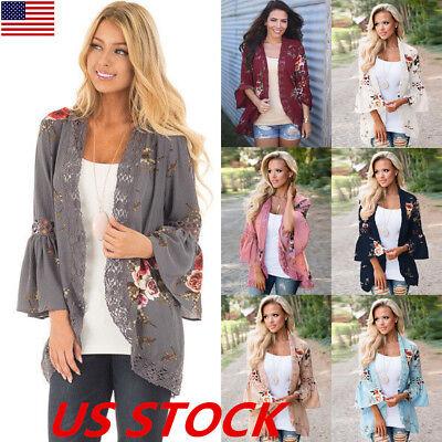 (US Boho Womens Long Sleeve Lace Floral Kimono Cardigan Blouse Casual Jacket Tops)