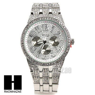 7aac5795d9cf Men Geneva Luxury Watch White Gold Plated Cubic Geneva Bling Iced Out Watch  G189