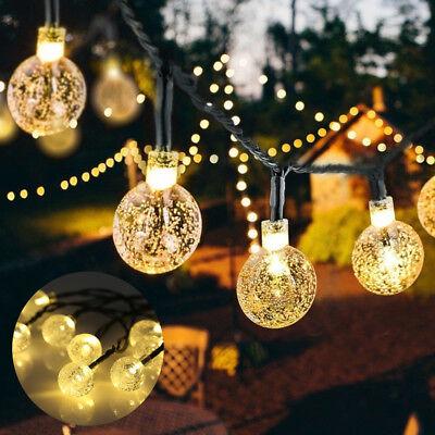 5m 30 LED Solar Lichterkette Warmweiß Außen Beleuchtung Party Garten Dekoration