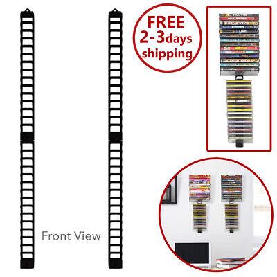 Stand Organizer CD Wall Mount Rack DVD 60 Holder Media Storage Disk Case (Wall Mount Dvd Holder)