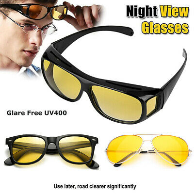 Anti Glare Yellow  Tinted HD Night Vision Driving Glasses Classic Pilot (Tinted Yellow)