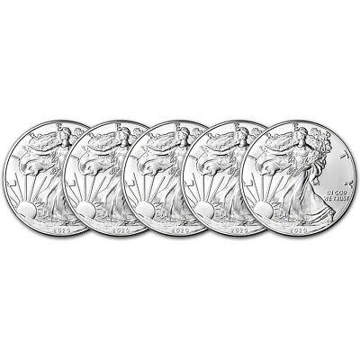 2020 American Silver Eagle 1 oz $1 - BU - Five 5 Coins