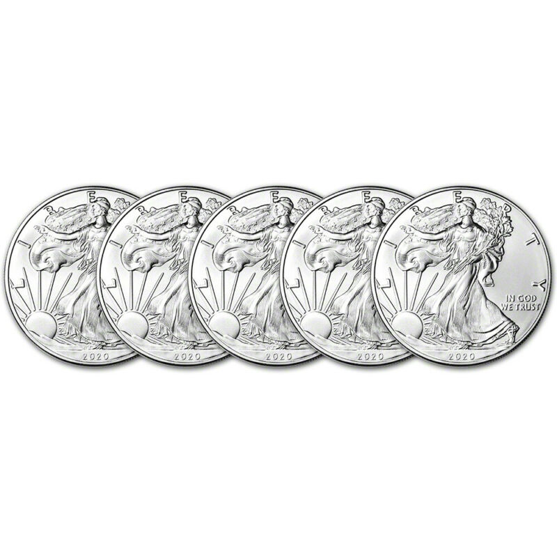 2020 American Silver Eagle 1 oz $1 - BU - Five 5 Coins