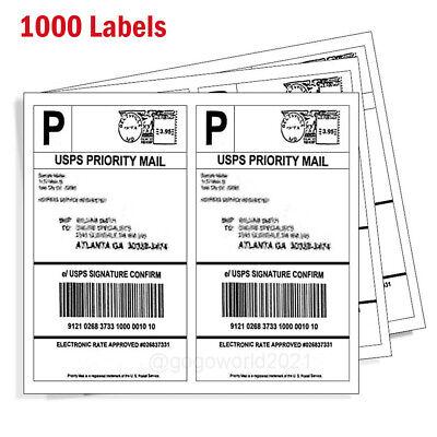 1000 Shipping Labels 8.5 X 5.5 Half Sheets Blank Self Adhesive 2 Per Sheet Ups