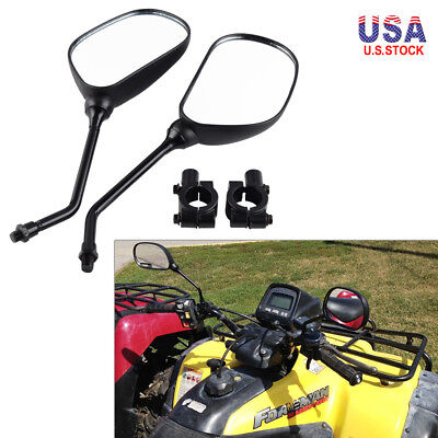 10mm Rear View Mirror with Adapter Clamp Mount Complete Pair Set Kit for ATV UTV 10' Mirror Mount Kit
