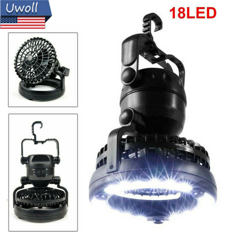 Outdoor Portable Tent LED Light Lamp with Fan fr Camping Hiking Equipment 2 IN 1