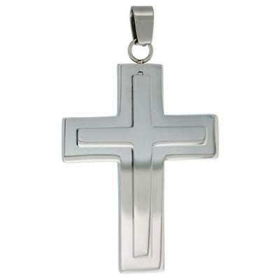 Stainless Steel Frosted Finish Center Cross Pendant, Free Bead Ball Chain Frost Finish Pendants