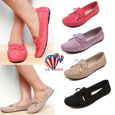 US WOMENS LADIES LEATHER FLATS SLIP ON PUMPS SOFT COMFY WORK SHOES LOAFERS (Ladies Moccasins)