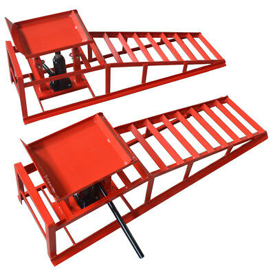 One Pair Red Hydraulic Auto Car Service Ramp Lifts Heavy Duty Hydraulic Ramp