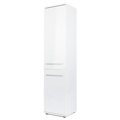 Hochschrank hochglanz weiß Badezimmerschrank Badschrank Badregal mit 2 Türen - 2 Tür Hochschrank