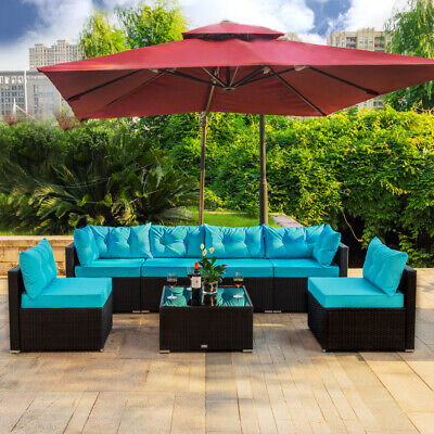 7 PC Outdoor Patio Garden Furniture Sectional Sofa Set Rattan with Table - Garden Patio Furniture