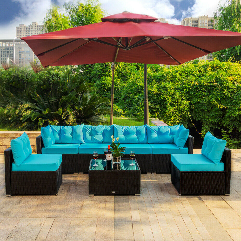 Garden Furniture - 7 PCS Outdoor Patio Garden Furniture Sectional Rattan Sofa Set with Table Blue