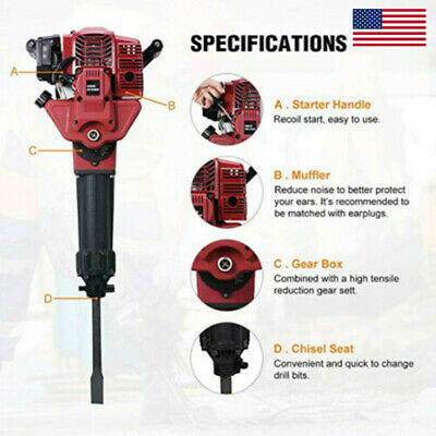 52cc 2 Stroke Gas Demolition Jack Hammer Concrete Breaker Drill With Chisels Usa