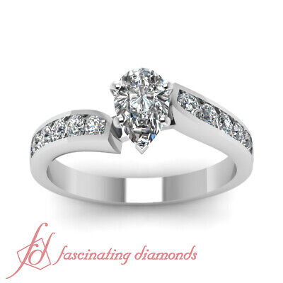 3/4 Ct Pear Shaped VS2-D Color Diamond Womens Gold Engagement Ring GIA Certified 1