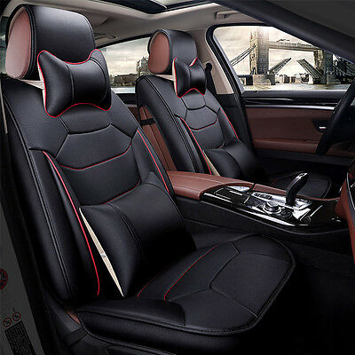 US SHIP TOP L Mircrofiber Leather 5-Seat Car SUV Seat Covers Front+Rear+Pillows