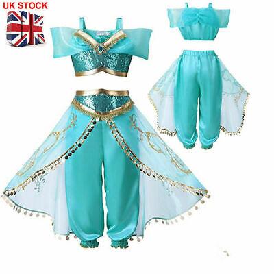 UK Kids Aladdin Costume Girl Princess Jasmine Outfits Sequin Party Fancy Dresses