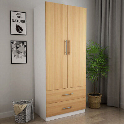 Wooden 2 Door Wardrobe with 2 Drawers Bedroom Storage White, Oak finish Door