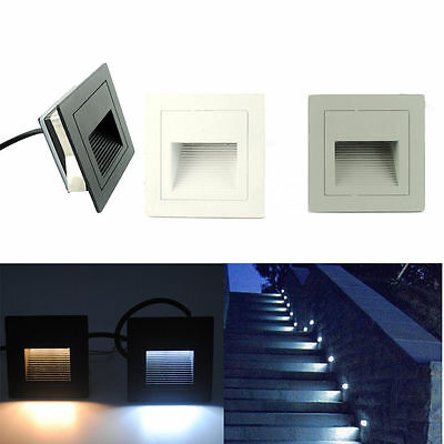 LED Wall Recessed Stair Step Light Pathway Corner Lamp Outdoor Lighting 85-265V
