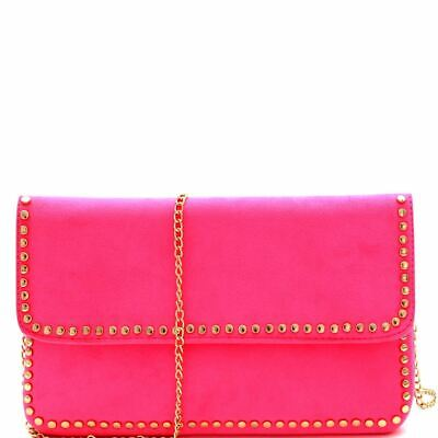 Accented Clasp - Stud Accent Felt-Suede Flap Clutch Neon