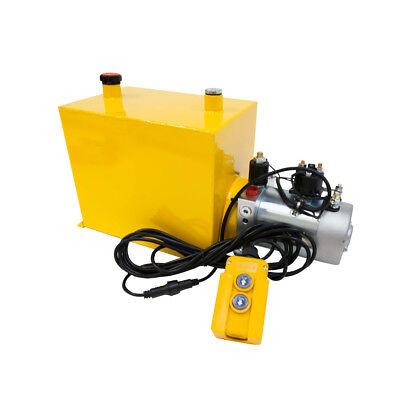 12 Volt Hydraulic Pump For Dump Trailer - 15 Quart Steel - Single Acting