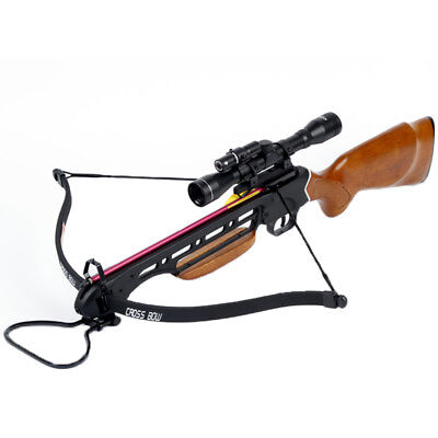150 lb Wood Hunting Crossbow Archery Bow +4x20 Scope +7 Bolts / Arrows 180 80