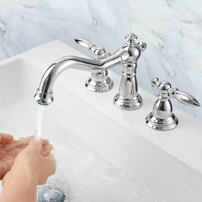 """3 Hole 8"""" Widespread Bathroom Basin Faucet Sink Mixer Tap 2 Handles Polished"""