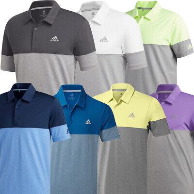Adidas Golf 2019 Mens Ultimate 2.0 Heather Blocked Short Sleeve Polo Shirt