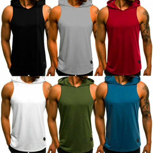 Men's Muscle Hoodie Tank Top Bodybuilding Gym Workout Sleeveless Vest T-shirt