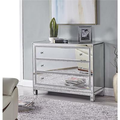 MIRRORED LIVING DINING ROOM BEDROOM BATHROOM FOYER 3 DRAWER DRESSER CABINET