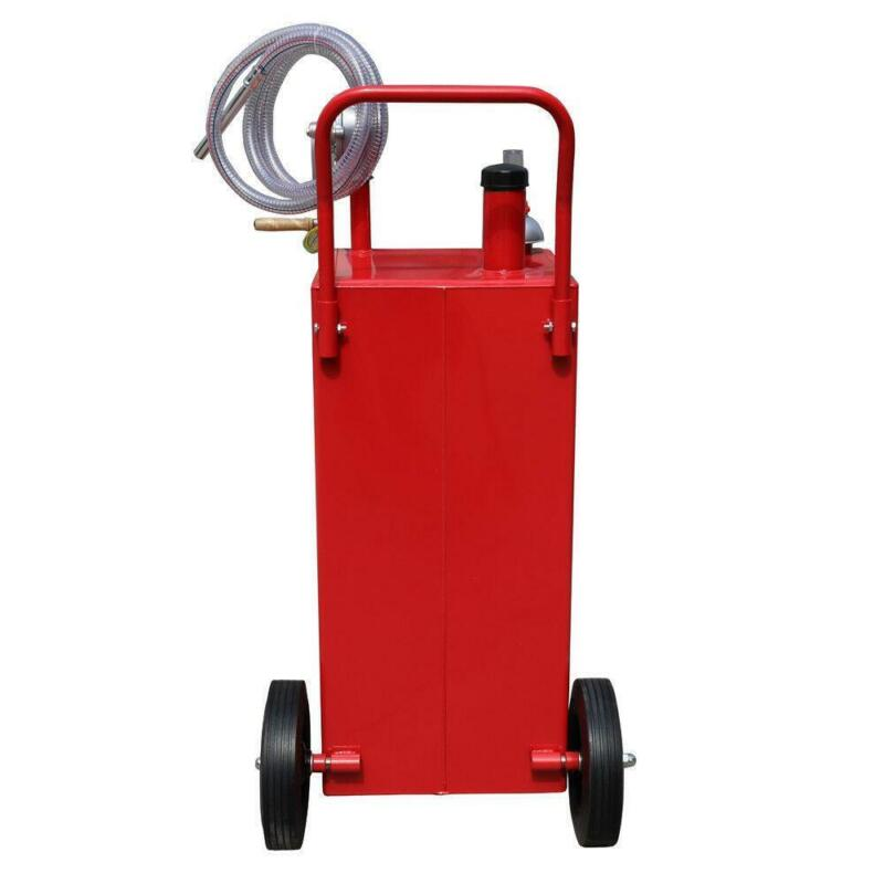 30 Gallon Red Gas Fuel Diesel Caddy Transfer Tank Container + 8 Feet Hose New
