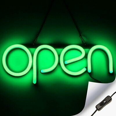 Led Neon Open Sign Light For Business With On Off Switch - Green