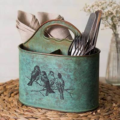 New French Country Chic Shabby Teal Bird Branch Divided Tote Metal Basket Caddy
